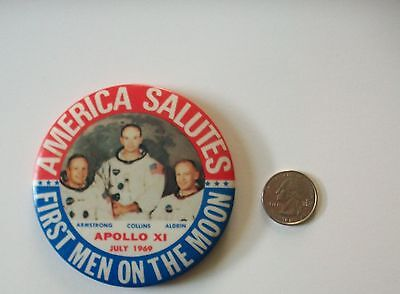 July 1969-APOLLO XI-Celluloid Pinback/Pin/First Men On The Moon/Aldron/Collins/A