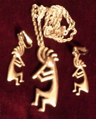SIGNED Navajo ANDY THOMAS Sterling Kokopelli SET Pendant Pin Necklace & Earrings
