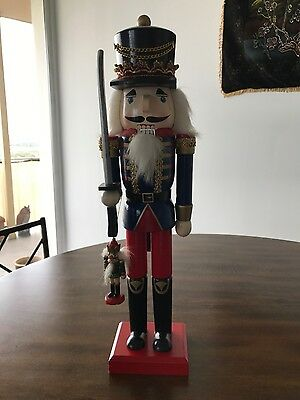 """Vintage Nutcracker Wooden Soldier 16"""" with 3"""" Ornament"""