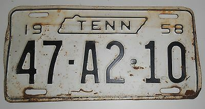 1958 Tennessee License Plate Good Condition Some Rust