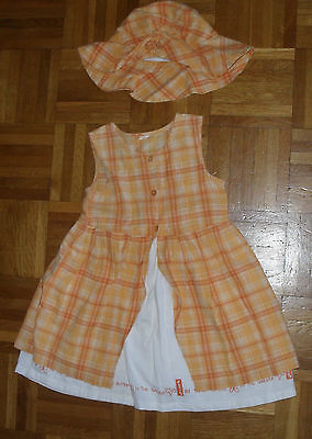 2tlg SET ärmelloses KLEID mit HUT Gr. 98 orange kariert Sommerkleid