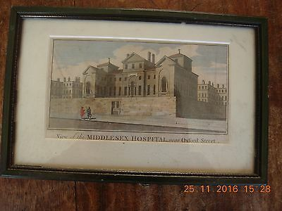 Antique print of View of Middlesex Hospital near Oxford Street. Hand coloured