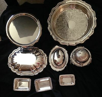 Set of various silverplated items serving dishes compote caserole more
