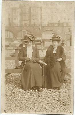 Two Ladies On A Bench Fashion Art Social History Photo Postcard