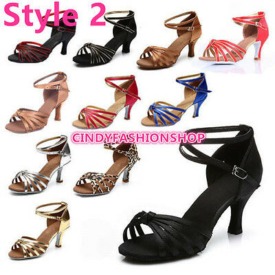 Hot Brand New Woman Ballroom Latin Tango Dance Shoes 5/7CM Heeled Dancing Salsa