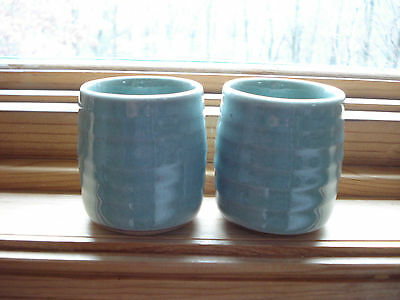Two Vintage Japanese Earthenware Sage Green Tea Bowls Cups Signed