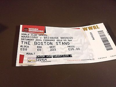 wigan v brisbane 20/2/16 ticket stub