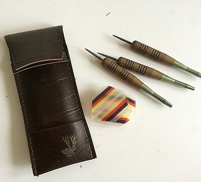 Vintage wooden darts set - 3 darts and feathers in leather case