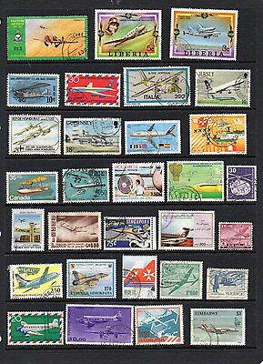 World 60 Different AIRCRAFT on stamps.