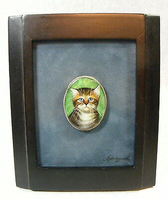 Hand Painted Cat / Kitten Framed & Signed by the Artist