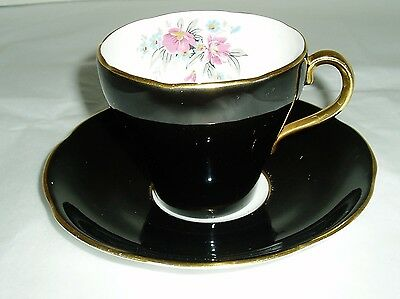 vintage Adderley china teacup and saucer black china pattern 17257