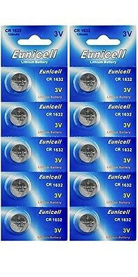 10 x EUNICELL CR1632 3V Lithium Batteries  BR1632  DL1632 Button Cell Battery