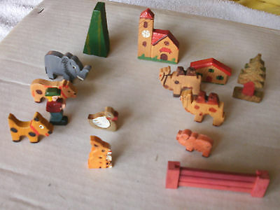 Vintage (1950s) Hand Carved Painted Miniature Wooden Animals etc. ~ Germany
