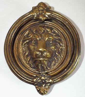 "Vintage LION HEAD DOOR KNOCKER Large 5"" Very Heavy Solid BRASS 3 Lbs. Ornate"