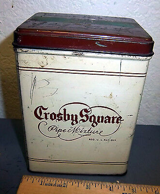 VINTAGE Crosby Square Pipe mixture tobacco tin, great colors & graphics
