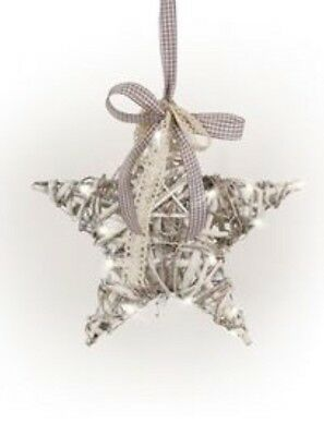 Tobs Pre Lit Willow and Vine Star with Battery Operated LED Lights Rustic