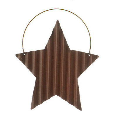 SET OF 7 Tin Star with Wire Hanger - Corrugated - 4.5 inches- Rustic Primitive