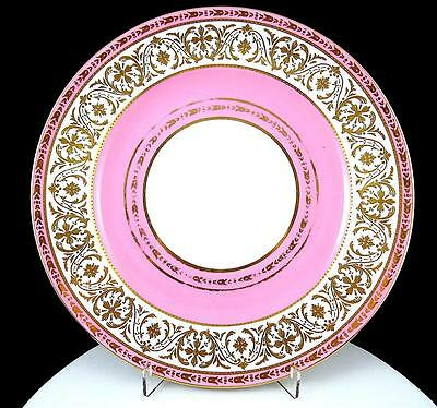 """Wedgwood X4336 Pink & Gold Floral Beads & Scrolls 10 1/4"""" Dinner Plate 1891-1910"""