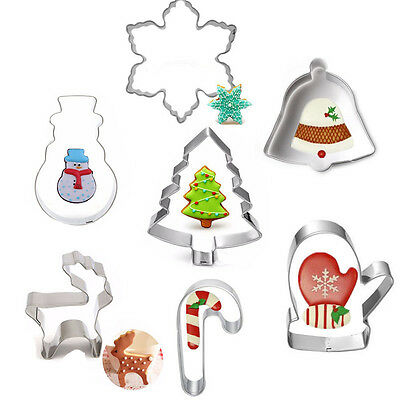 Stainless Steel Cookie Biscuit Cutters Bread Fondant Cake Mold Baking Tool Xmas