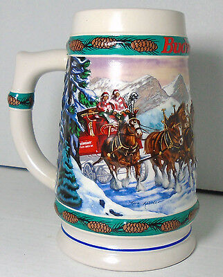 Budweiser Beer Stein with Horses - Vintage 1993 Christmas Theme by Nora Koerber
