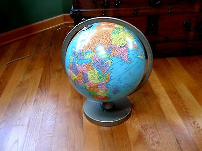 "Vtg Mid Century Replogle 12"" Metal Desk Top Revolving Reference Globe w Stand"
