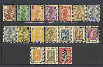 Malta Scott #98-114 1922-26 Complete Set (17 Stamps) Mint Hinged-Never Hinged