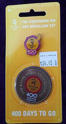 SYDNEY 2000 OLYMPICS 400 DAYS TO GO COUNTDOWN PIN and MEDALLION SET - PERFECT