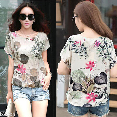 Fashion Summer Blouse Women Printed Short Sleeve Loose T-Shirt Casual Tops Vest