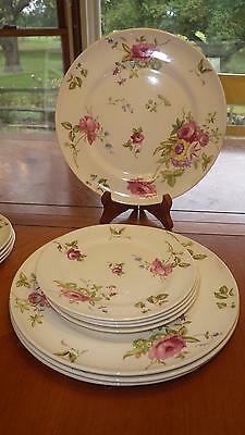 Vintage American Limoges Dinnerware Set Canterbury Candle Light Plates 12 pc set
