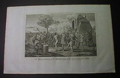 1784 CAPT. COOKS VOYAGES - Engraving: MEXICANS REJOICING, barebreated natives