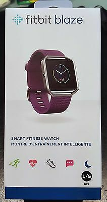 Brand New Fitbit Blaze Fitness Stainless Steel Watch Tracker Plum Color Large