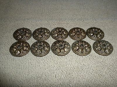 10 Antique Original Brass Ornate Piano Escutcheons Furniture Cabinet Desk Trim