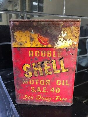 Shell Double Vintage 1 Quart Early Motor Oil Tin