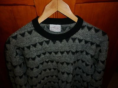 VINTAGE 1980s FUNKY  GREY / BLACK WOOL KNIT JUMPER EXCELLENT CONDITION