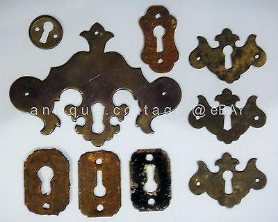 LOT antique 9 victorian SKELETON KEYHOLE COVERS plates ESCRUTCHEONS brass rust