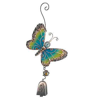 Butterfly Glass Metal Ornament Hanging Bell NEW garden chime door suncatcher art