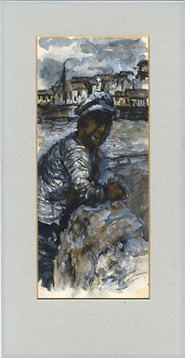 20th Century Mixed Media - Man by the Harbour