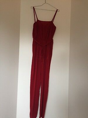 Ladies Vintage Retro Red Polyester Jumpsuit Size 10 Unbranded