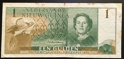 Netherlands New Guinea 1954 1 Gulden (P-11a) VF with spots