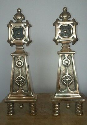 Art deco  Vintage  Brass Fireplace Andirons, Fire Dogs, Log Holders