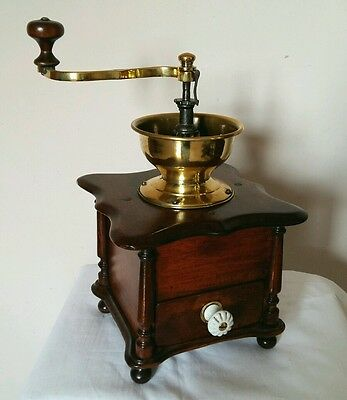 Quality Antique French Mahogany & Cast Iron Coffee Grinder; excellent patina.