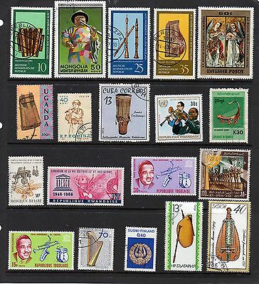 THEMATICS 52 Musical Instruments on Stamps.