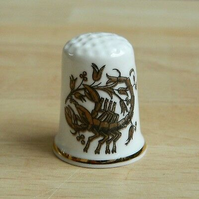 Scorpio Thimble Ceramic Collectors Sewing Crafts Astrology Gift