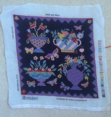 Ehrman Susan Duckworth Urns and Fruit Completed Tapestry Cushion Front Butterfly