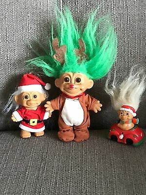 3 Russ Vintage Rare Santa Claus Troll! Rudolph & Wind Up  Christmas Car trolls