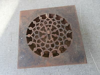 Antique Sqaure Ornate Cast Iron Floor Air Vent Grate Register