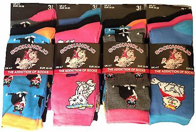 Pack Of Ladies Womens Socks Girls Cute Cat Print Colourful Design Socks Size 4-7