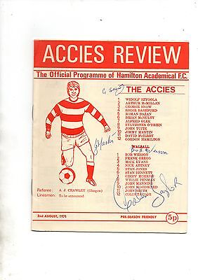 HAMILTON ACADEMICALS v WALSALL 1971/2 *Possible autographs*