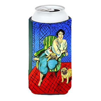 Carolines Treasures Lady with her Pug Tall Boy bottle sleeve Hugger 22 to 24 oz.