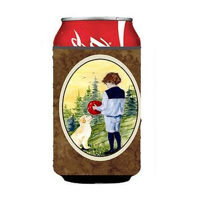 Little Boy With His Golden Retriever Can Or bottle sleeve Hugger 12 oz.